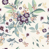 Floral pattern with realistic flowers,  leafs and field plants - 208485466