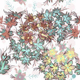 Floral rustic pattern with pastel colored flowers - 208485663