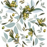 Floral vector clean pattern with olive plant and green leafs - 208485877