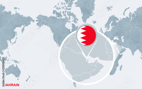 World map centered on America with magnified Bahrain. | Buy Photos ...