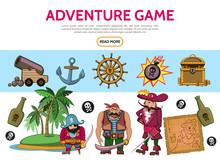 Cartoon Adventure Game Elements Set Sticker