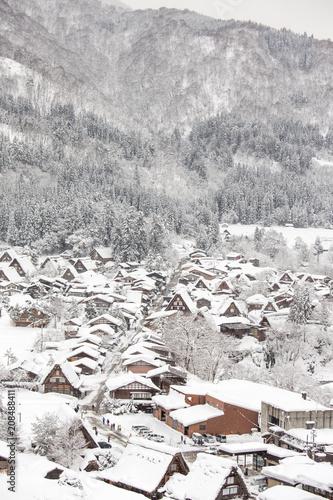 Foto Murales Historic Villages of Shirakawa-go and Gokayama, Japan in winter.