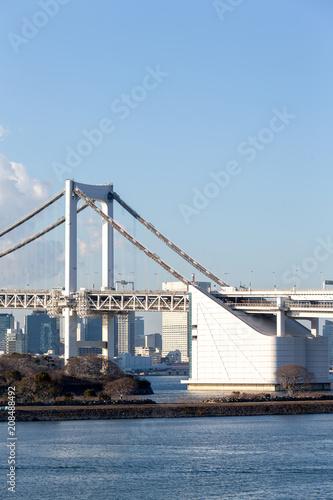 Fotobehang Tokio Tokyo Bay with Rainbow Bridge in Odaiba city skyline