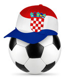 Classic black white leather soccer ball croatia croatian flag baseball fan cap isolated background sport football concept - 208489205