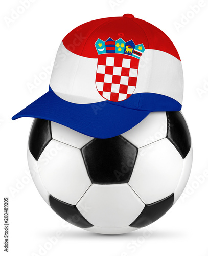 Classic black white leather soccer ball croatia croatian flag baseball fan cap isolated background sport football concept