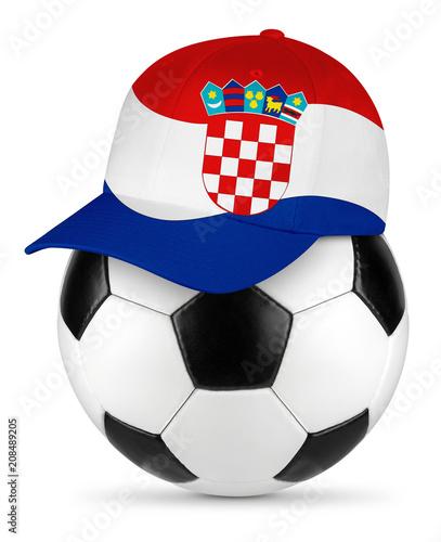 Classic black white leather soccer ball croatia croatian flag baseball fan cap isolated background sport football concept