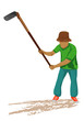 agriculturist with shovel vector design - 208489426