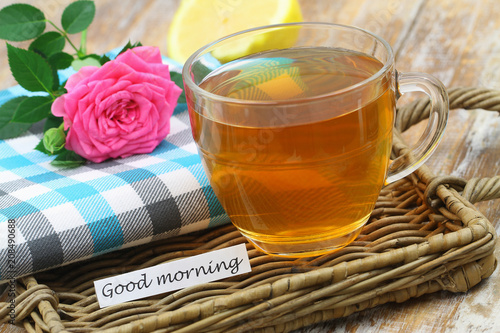 Good Morning Card With Cup Of Tea And Pink Rose Buy Photos Ap