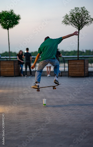 Aluminium Skateboard the guy is engaged on a skateboard