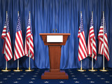 Podium speaker tribune with USA flags. Briefing of president of United states in White House. Politics concept. - 208496037