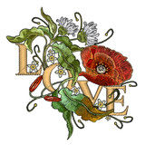 Slogan Love. Classical embroidery blossoming red poppies and white chamomiles on black background, template fashionable clothes, t-shirt design, beautiful flowers vector. Embroidery poppies - 208498089