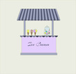 Cute stall `Ice Cream` with a striped awning. Vector illustration