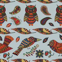 seamless pattern_7_illustration of animal and plant ornament of bird and plant