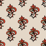 Cute damask, fleur de lis abstract seamless pattern with hand drawn decoration.  Vector illustration. - 208508422