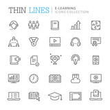 Collection of e-learning thin line icons - 208509609