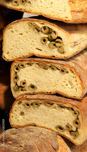 whole wheat bread with olive green
