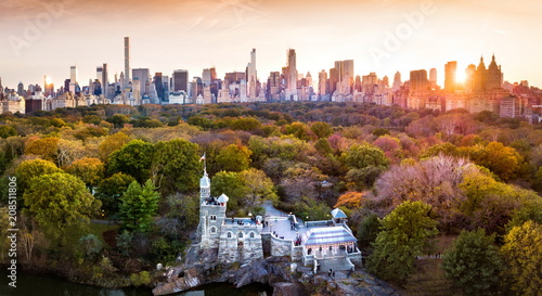 Leinwanddruck Bild New York panorama from Central park, aerial view