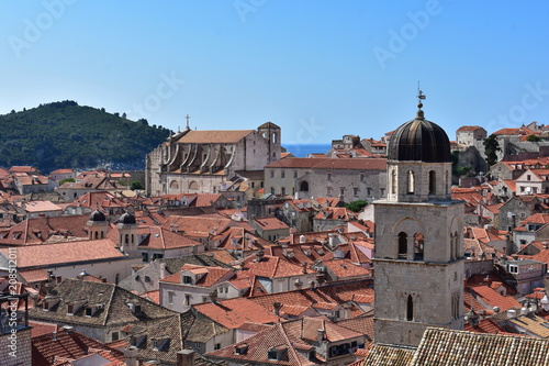 Dubrovnik view of old town and red roofs - 208512011