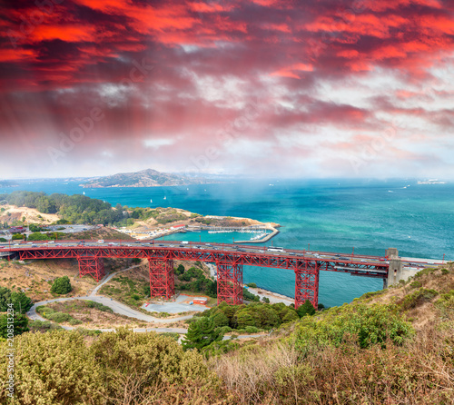 Foto Murales Aerial view of Golden Gate Bridge, San Francisco - California