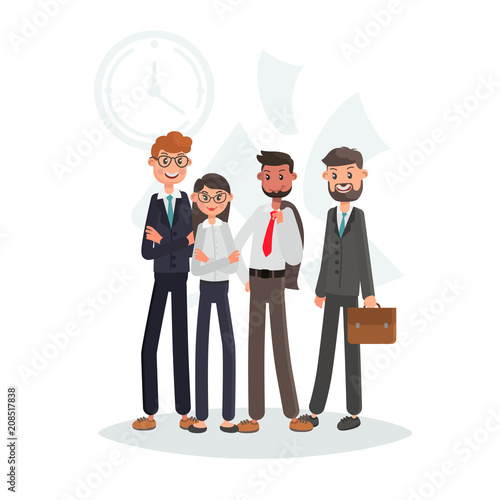 Fridge magnet Team of office workers color flat illutration