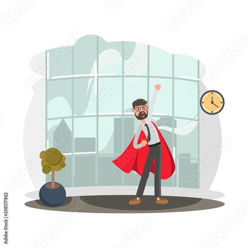 Sticker Super Office Worker color flat illustration