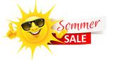 Cartoon Sonne mit Sonnenbrille und Sommer Sale Banner - 208518449