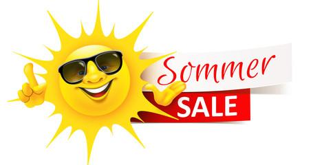 Cartoon Sonne mit Sonnenbrille und Sommer Sale Banner © Artenauta