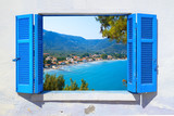 Sea view through traditional greek window in Thassos island - 208518868