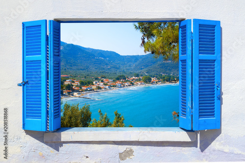 Aluminium Santorini Sea view through traditional greek window in Thassos island