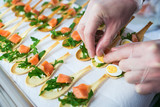 Delicates, appetizer filling with red fish and greens. Catering service. - 208520065