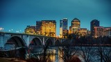 View on Key bridge and Rosslyn skyscrapers at dusk: timelapse of dat to night transition, Washington DC, USA - 208522475