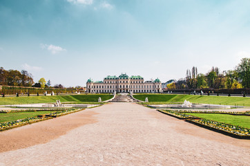 Belvedere Palace and fountains in Spring