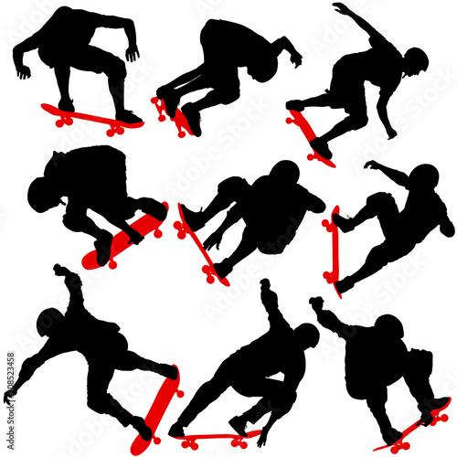 Fotobehang Skateboard Set black silhouette of an athlete skateboarder in a jump