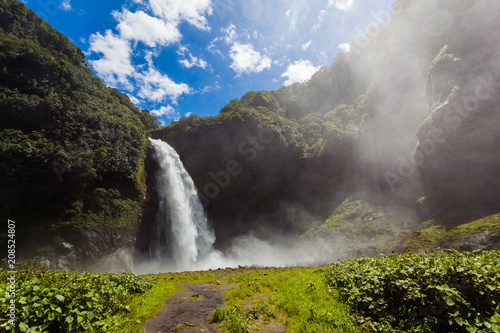 Cascada Río Malo, powerful and huge waterfall of white water in El Chaco, Napo province