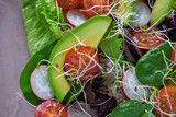 Avocado salad with sprouts tomatoes spinach - 208527405
