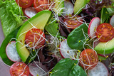 Avocado salad with sprouts tomatoes spinach - 208527406