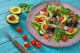 Avocado salad with sprouts tomatoes spinach - 208527437
