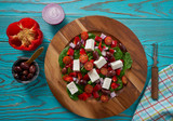 Cheese salad with tomatoes spinach and olives - 208527488