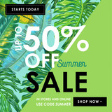 Summer Sale Ad Tropical Banner with Palm Leaves. Seasonal Discount, Promotion, Clearence Floral Background for Flyer, Brochure, Poster. Vector illustration - 208529493