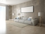 Mock up a modern living room with a light sofa and a trendy hipster background.
