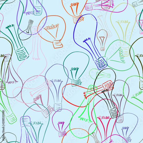 Seamless light bulb illustrations background abstract, hand drawn. Shape, idea, drawing & vector. - 208533048