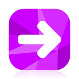 Arrow flat vector icon. Right violet web button. Direction internet square sign. Forward modern design symbol in eps 10. - 208533483