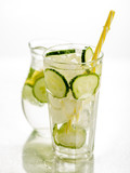 Healthy detox fizzy water with lemon and cucumber in Highball glass. Fresh Summer Drink. Healthy food concept. Detox diet