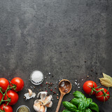 Food background for tasty Italian dishes with tomato. Various cooking ingredients. Top view, square crop with copy space. - 208536895
