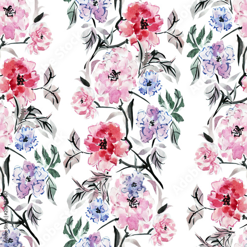 watercolor floral  seamless pattern - 208537487