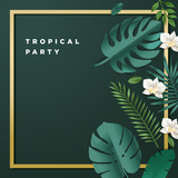 Summer party invitation. Vector illustration for background, mobile and social media banner, summertime card, poster. Lettering summer concept with natural elements. - 208543836