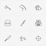 Hunting And Fishing line icon set with target, hatchet and tin