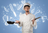 Young cook with kitchen instruments and drawn recipe concept on wallpaper - 208550024