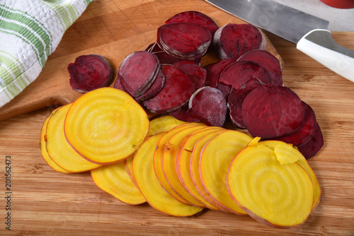 Sliced red and golden beets
