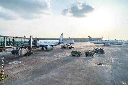Fototapeta airplane in the airport